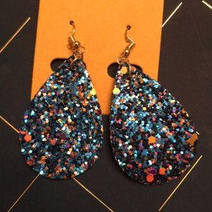 Dark blue teardrop earrings